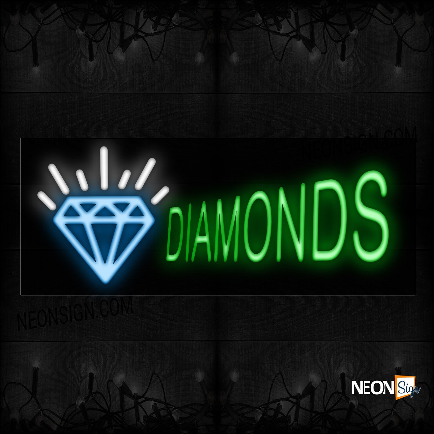 Image of 10226Diamonds In Green And Logo_13x32 Black Backing