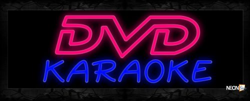 Image of 10230 Double stroke DVD Karaoke Neon Sign 13x32 Black Backing