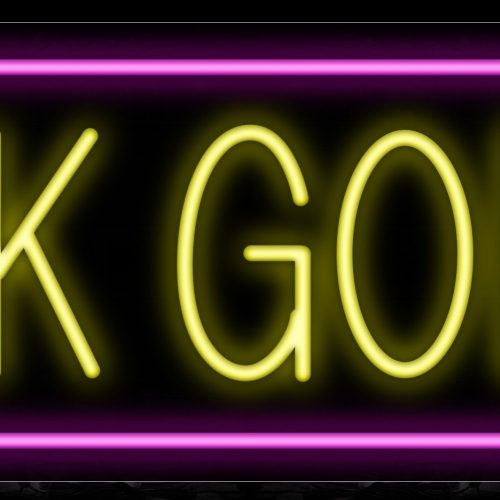 Image of 10248 14K Gold in yellow with pink border Neon Sign_13x32 Black Backing