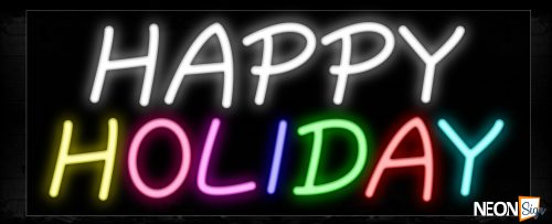 Image of 10250 Colorful Happy Holiday Neon Sign_13x32 Black Backing