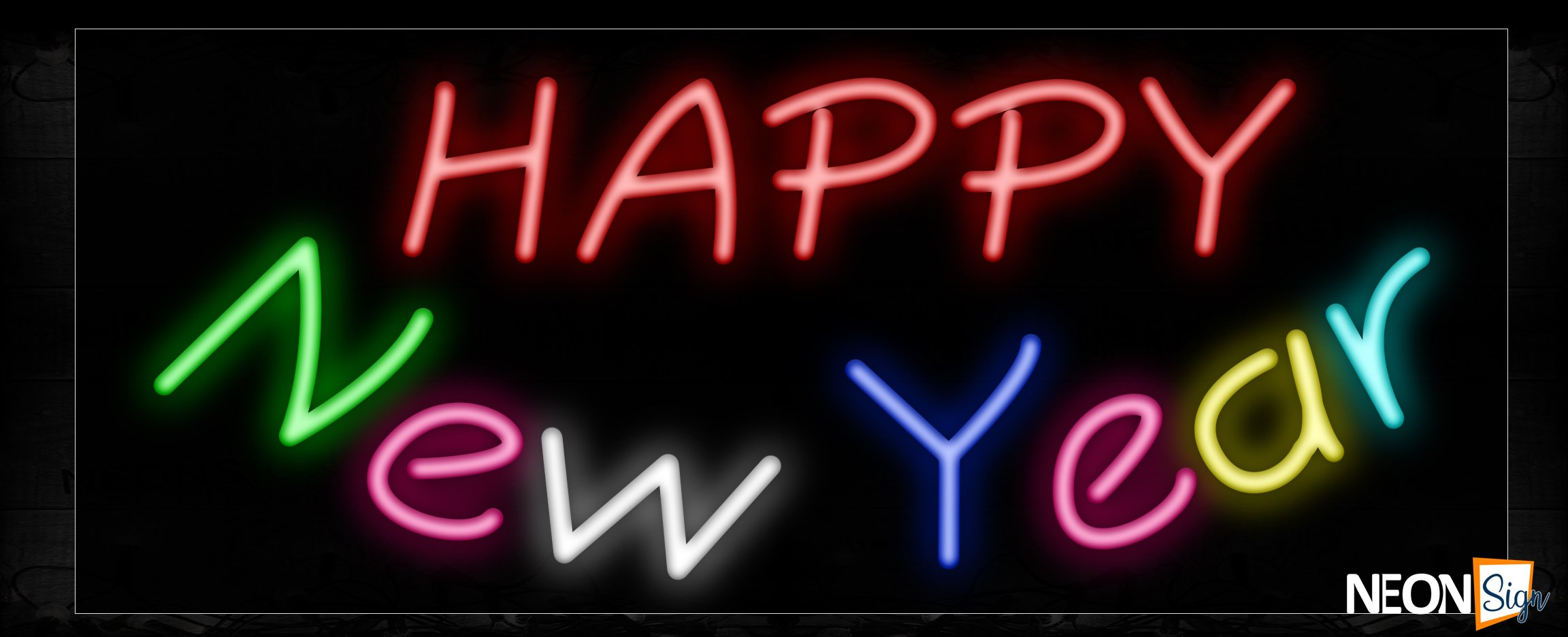 Image of 10251 Happy New Year (Colorful) Neon Sign_13x32 Black Backing