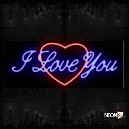 Image of 10253 I Love You With Heart Logo_13x32 Black Backing