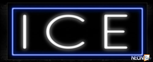 Image of 10254 Ice with border Neon Sign_13x32 Black Backing