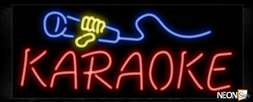 Image of 10257 Karaoke with mic logo Neon Sign_13x32 Black Backing