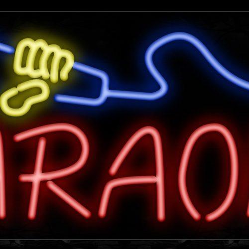 Image of 10257 Karaoke with mic logo Neon Sign_13x32 Black Backing