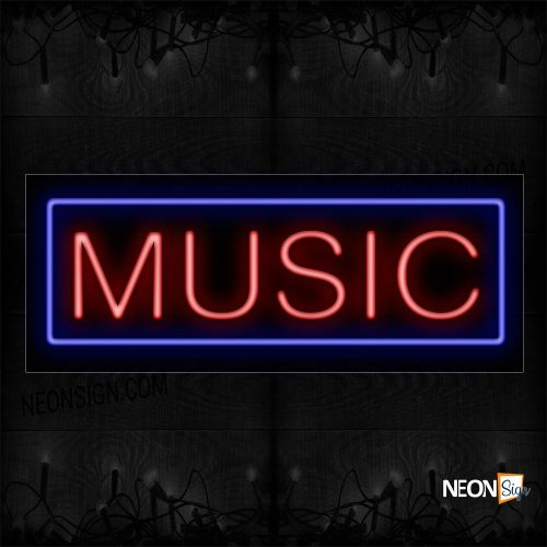 Image of 10264 Music With Border Neon Sign_13x32 Black Backing