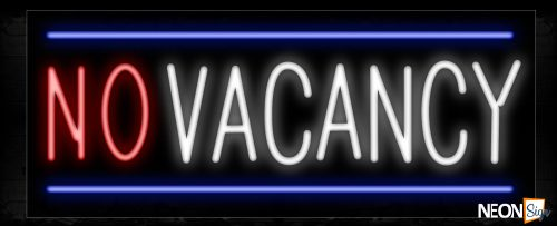 Image of 10267 No Vacancy with blue border Neon Sign_13x32 Black Backing