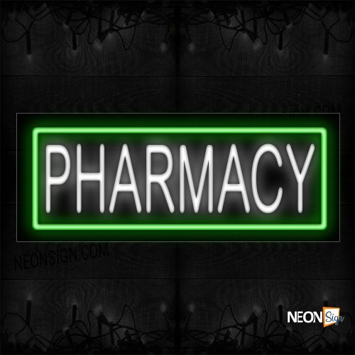Image of 10280 Pharmacy In White With Green Border Neon Sign_13x32 Black Backing