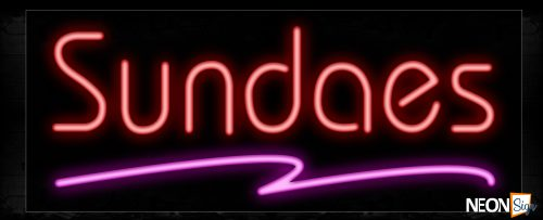 Image of 10296 Sundaes in red with pink line Neon Sign_13x32 Black Backing