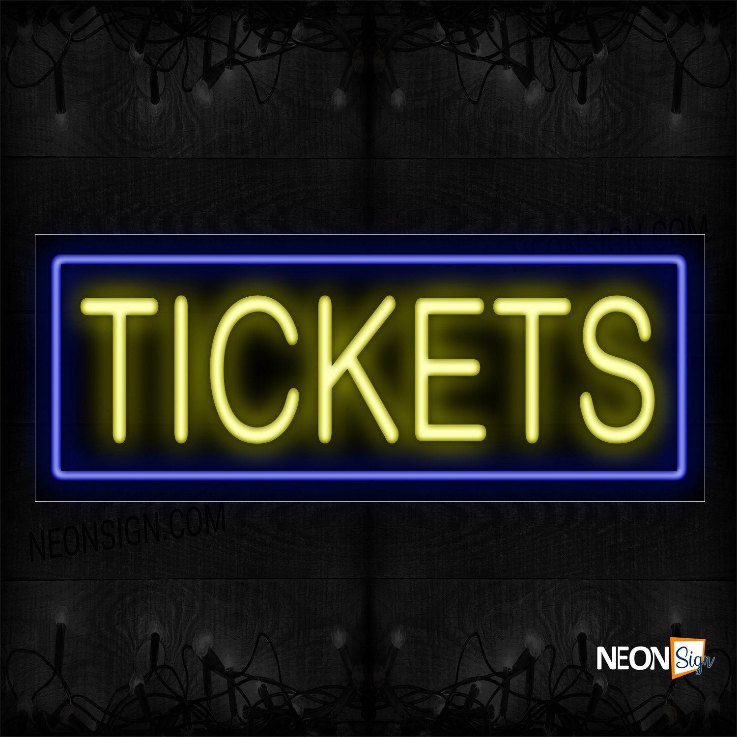 Image of 10301 Tickets In Yellow With Blue Border Neon Sign_13x32 Black Backing