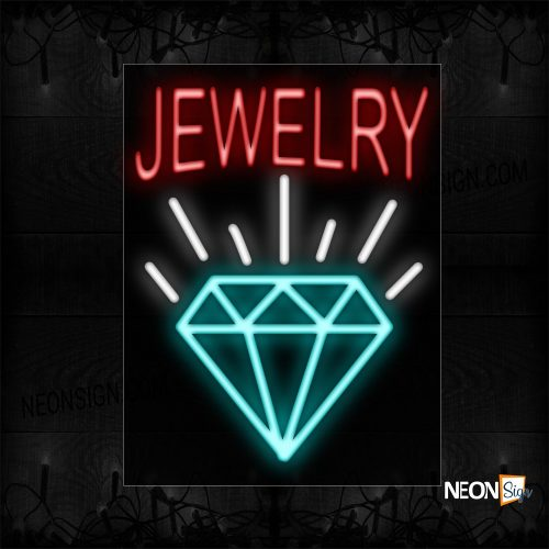 Image of 10396 Jewelry In Red With Diamond Logo Neon Sign_24x31 Black Backing
