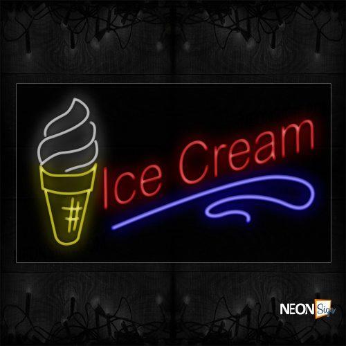 Image of 10399 Ice Cream Wave With Ice Cream Image Border Led Bulb Neon Signs_20x37 Black Backing