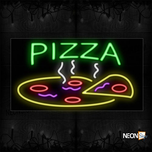 Image of 10407 Pizza With A Slice Neon Sign_20x37 Black Backing