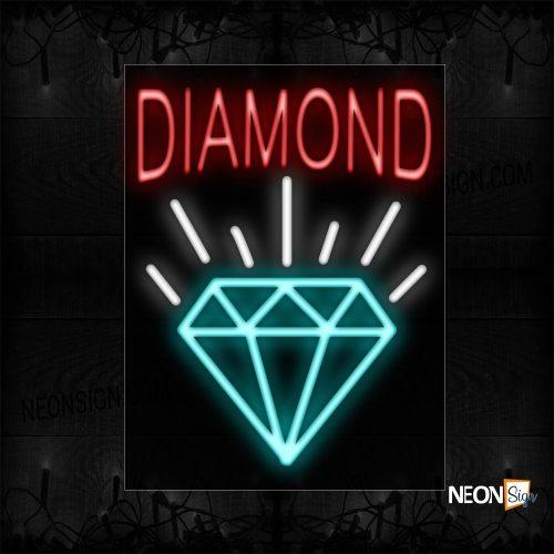 Image of 10425 Diamond With Logo Neon Sign_24x31 Black Backing