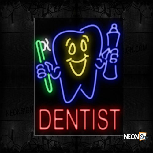 Image of 10426 Dentist With Tooth Logo Neon Sign_24x31 Black Backing