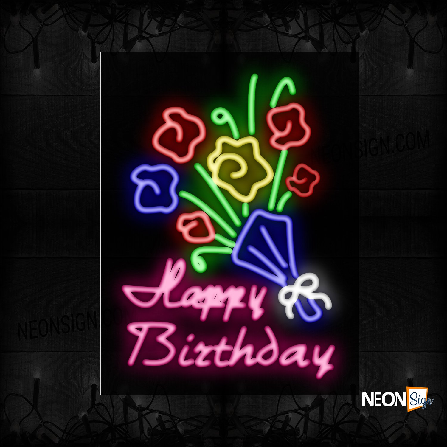 Image of 10465 Happy Birthday With Flower Logo Neon Sign_24x31 Black Backing