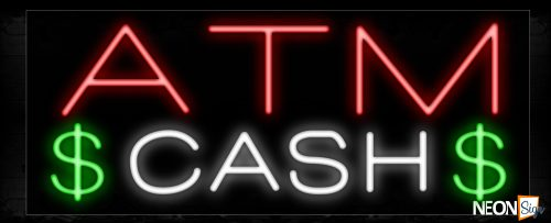 Image of 10478 Plain ATM Cash Traditional Neon_13x32 Black Backing