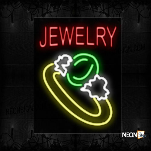 Image of 10479 Jewelry With Ring Logo Neon Sign_24x31 Black Backing