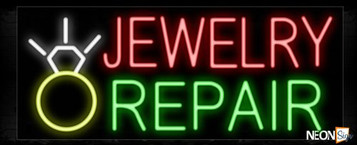 Image of 10490 Jewelry Repair with ring logo Neon Sign_13x32 Black Backing