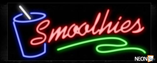 Image of 10493 Smoothies with green line and glass Neon Sign_13x32 Black Backing