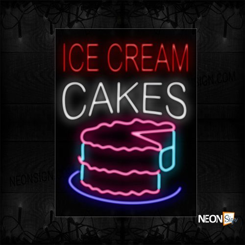 Image of 10497 Ice Cream Cakes With Cake Logo Neon Signs_24x31 Black Backing