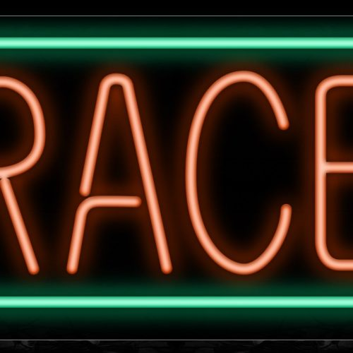 Image of 10500 Braces wtih green border Neon Sign_13x32 Black Backing