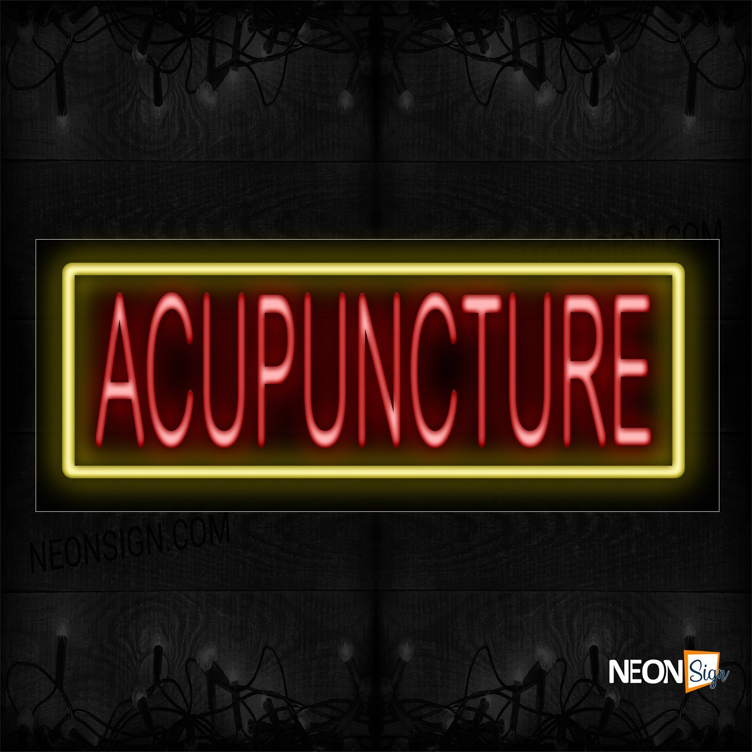 Image of 10504 Acupuncture In Red With Yellow Border Neon Sign_13x32 Black Backing