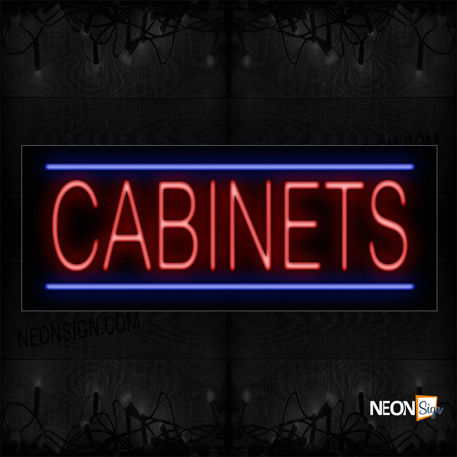 Image of 10518 Cabinets With Horizontal Line Neon Sign_13x32 Black Backing