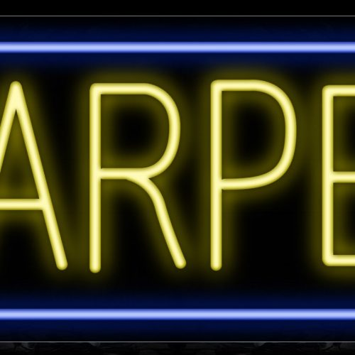 Image of 10519 Carpet with blue border Neon Sign_13x32 Black Backing