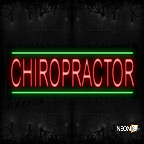 Image of 10524 Chiropractor With Green Lines Neon Sign_13x32 Black Backing