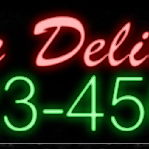 Image of 10535 We Deliver with contact no Neon Sign_13x32 Black Backing