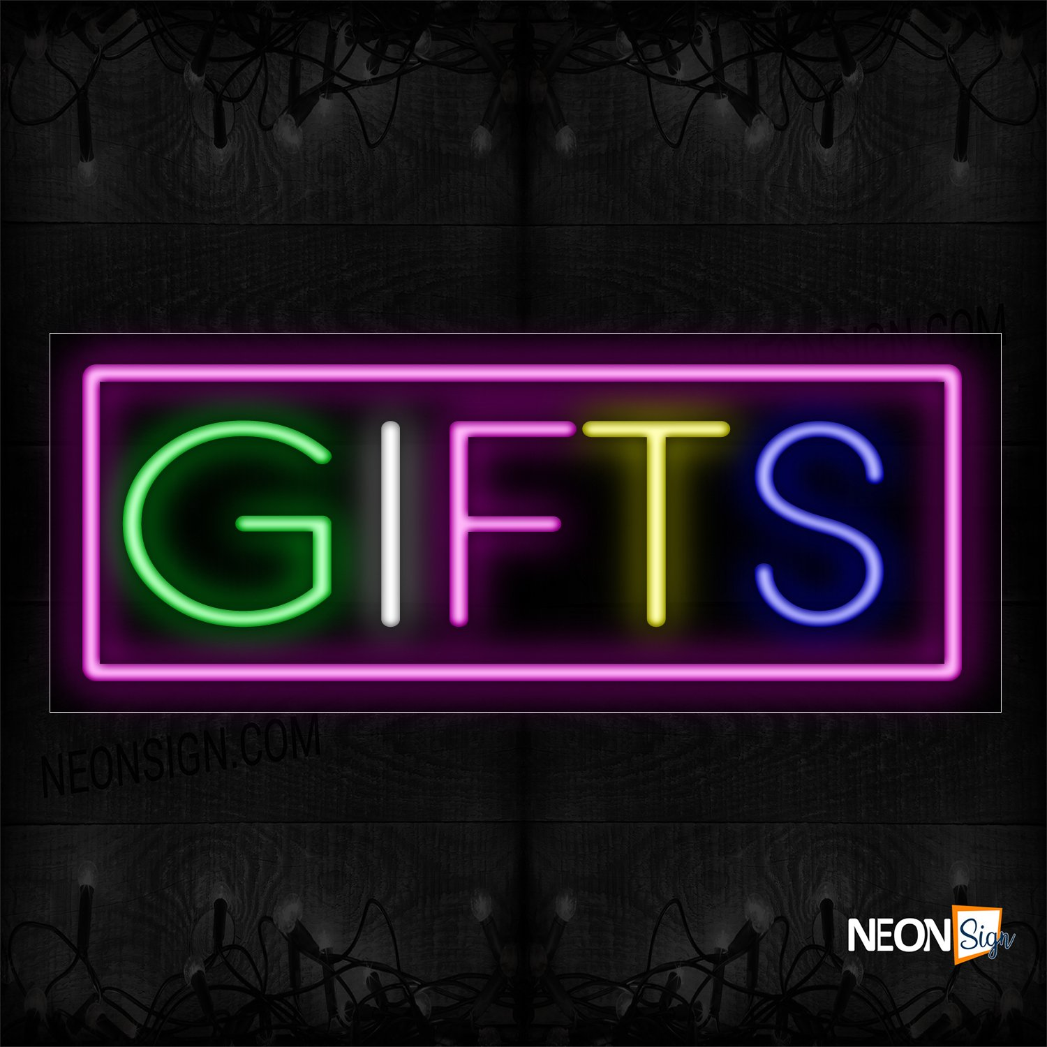Image of 10550 Colorful Gifts With Pink Border Neon Sign_13x32 Black Backing
