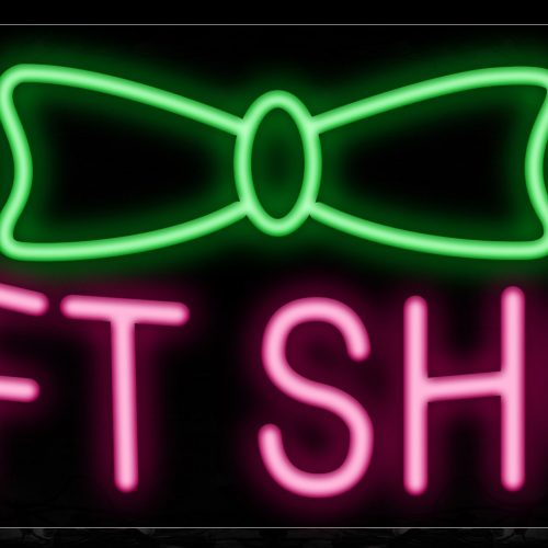Image of 10551 Gift Shop with ribbon Neon Sign_13x32 Black Backing