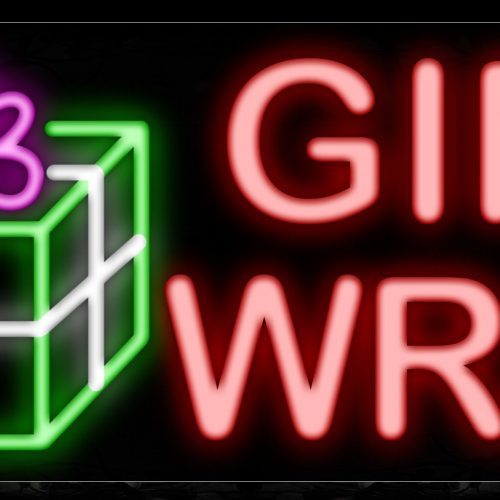 Image of 10552 Gift Wrap in red with logo Neon Sign_13x32 Black Backing