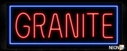Image of 10553 Granite in red and blue border Neon Sign_13x32 Black Backing