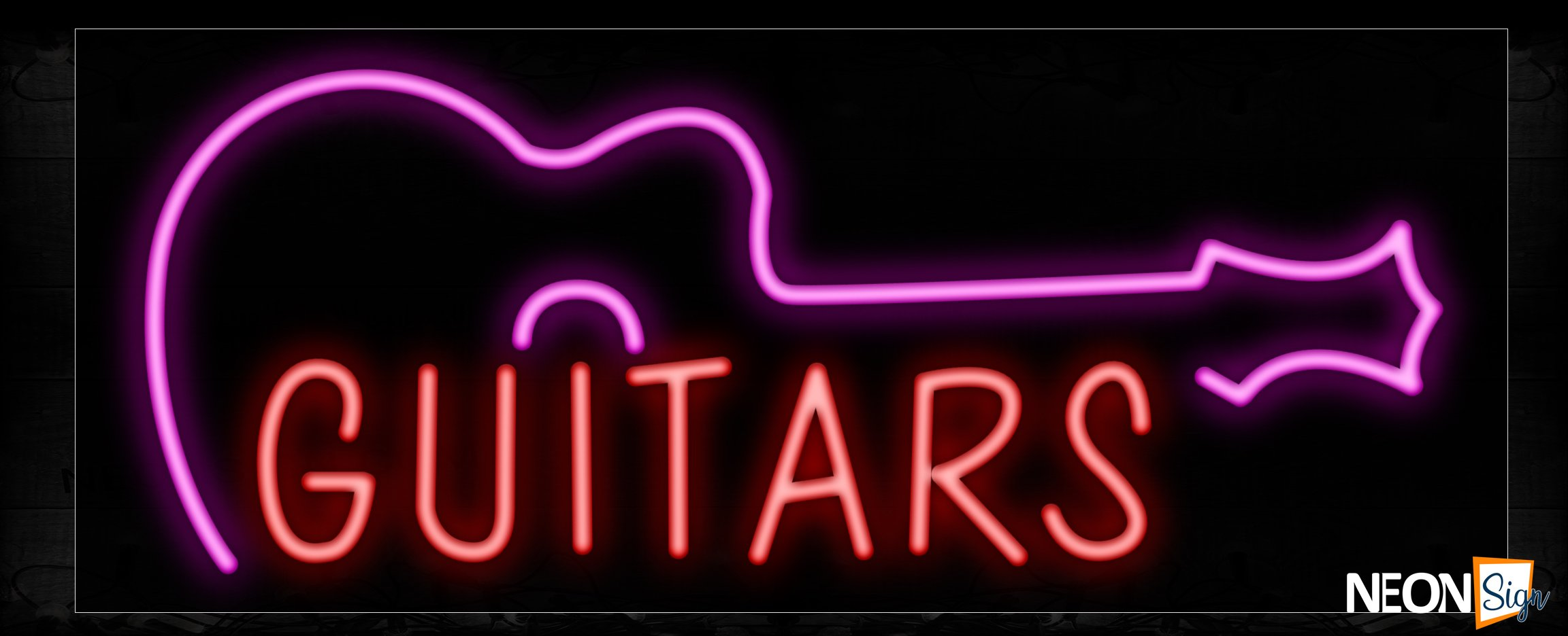 Image of 10555 Guitars with logo Neon Sign_13x32 Black Backing