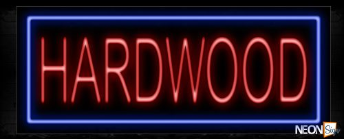 Image of 10560 Hardwood With Blue Box And All Caps Text Traditional Neon_13x32 Black Backing
