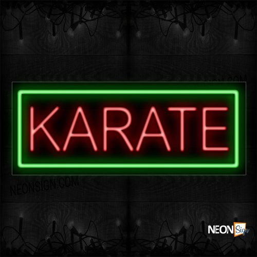 Image of 10566 Karate In Red With Green Border Neon Sign_13x32 Black Backing