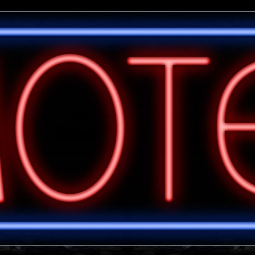 Image of 10579 Motel in red with blue border Neon Sign_13x32 Black Backing