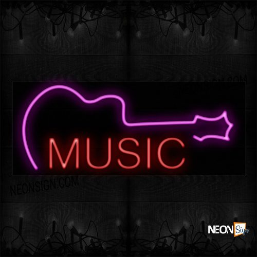 Image of 10582 Music In Red With Logo Neon Sign_13x32 Black Backing