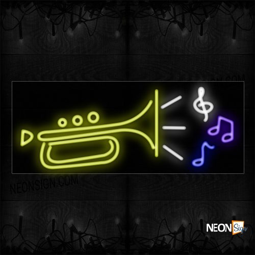 Image of 10583 Trumpet Logo And Notes Neon Sign_13x32 Black Backing