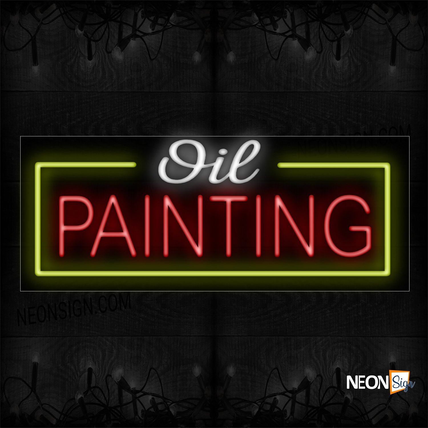 Image of 10592 Oil Printing With Yellow Border Neon Sign_13x32 Black Backing