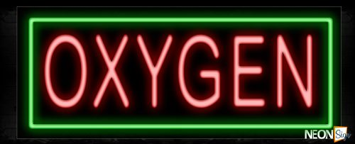 Image of 10603 Oxygen with border Neon Sign_13x32 Black Backing