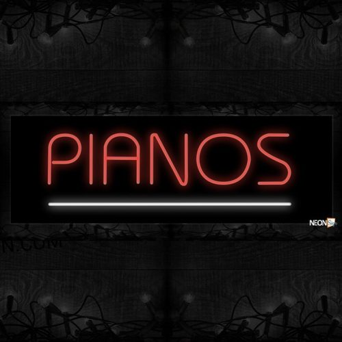 Image of 10605 Pianos with underline Neon Sign 13x32 Black Backing