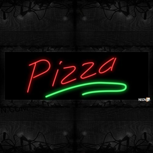 Image of 10609 Pizza in red with green line Neon Sign 13x32 Black Backing
