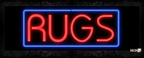 Image of 10618 RUGS in red with blue border Neon Sign 13x32 Black Backing