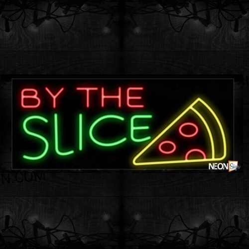 Image of 10626 By the SLICE with pizza logo Neon Sign_13x32 Black Backing