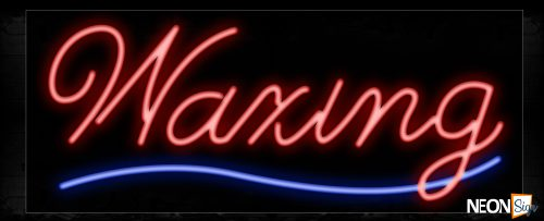 Image of 10648 Waxing with underline Neon Sign_13x32 Black Backing