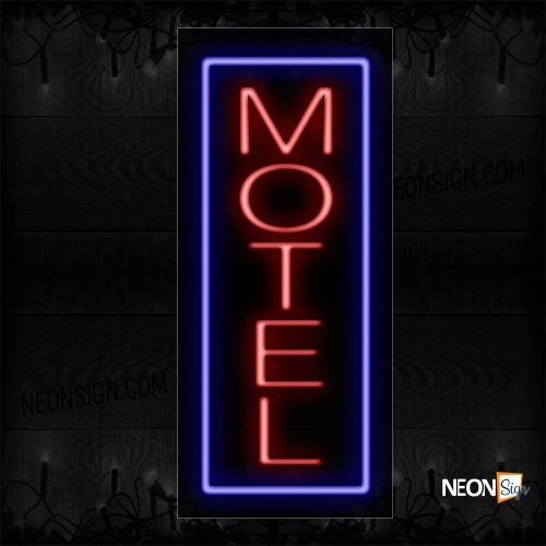 Image of 10661 Motel With Border Neon Sign_13x32 Black Backing