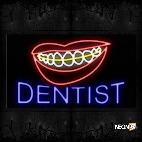 Image of 10675 Dentist With Braces Logo Neon Sign_20x37 Black Backing